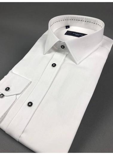 Abbate Klasık Yaka Slımfıt Düz Saten Punto Dıkışlı Gömlek Beyaz